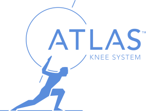 Atlas Knee System Logo with man